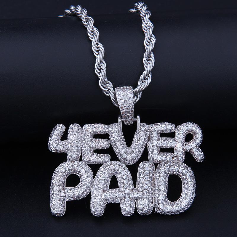 e77c3a47121eb Acheter Iced Out Letters 4Ever Paid Forever Paid Pendentif Collier Avec  Chaîne AAA Zircon Mens Collier Hip Hop Bijoux De $25.07 Du Luzhenbao523 |  DHgate.Com