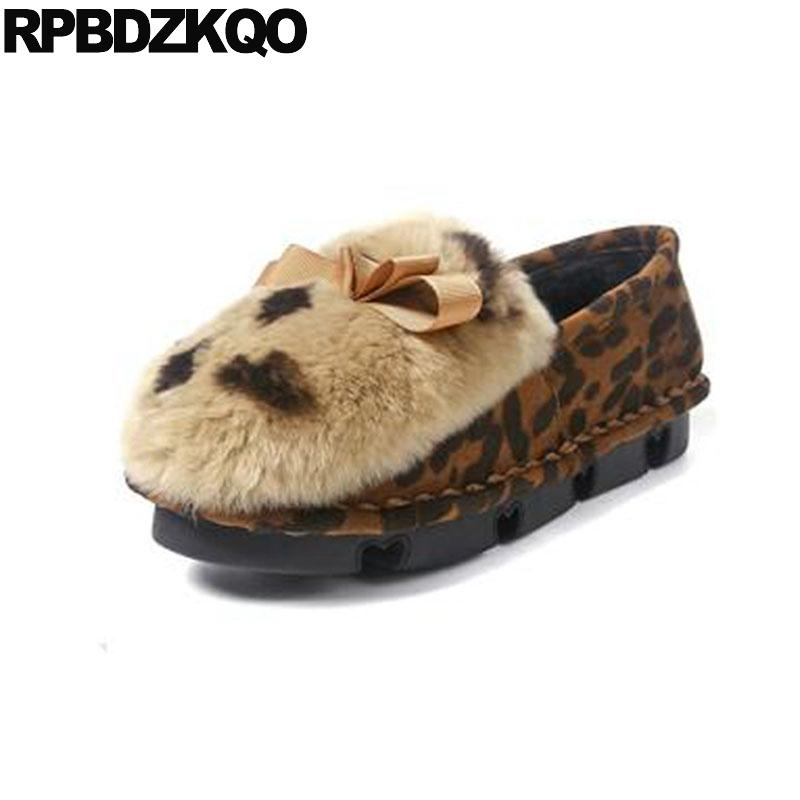 women winter 2019 shallow suede fur leopard print gray ladies slip on round toe chinese designer shoes china flats large size