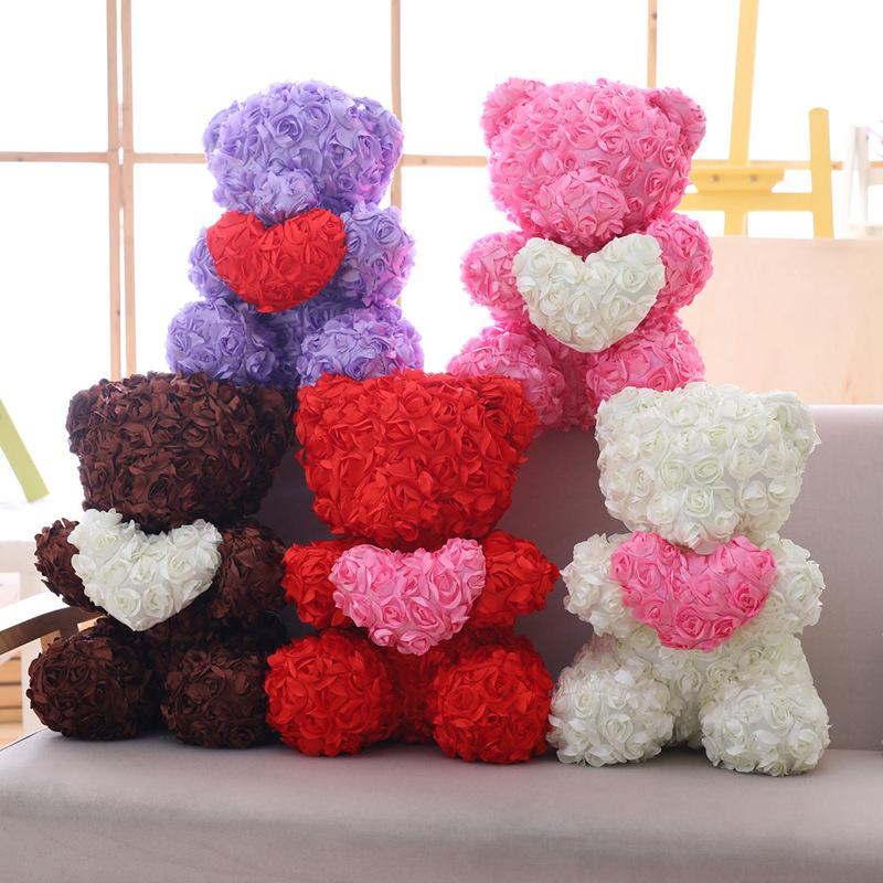 Simulation Rose Bear Toy Ribbon Romantic Valentine's Day Gift Teddy Bear Doll Rose Flower Artificial Decoration Christmas Gifts