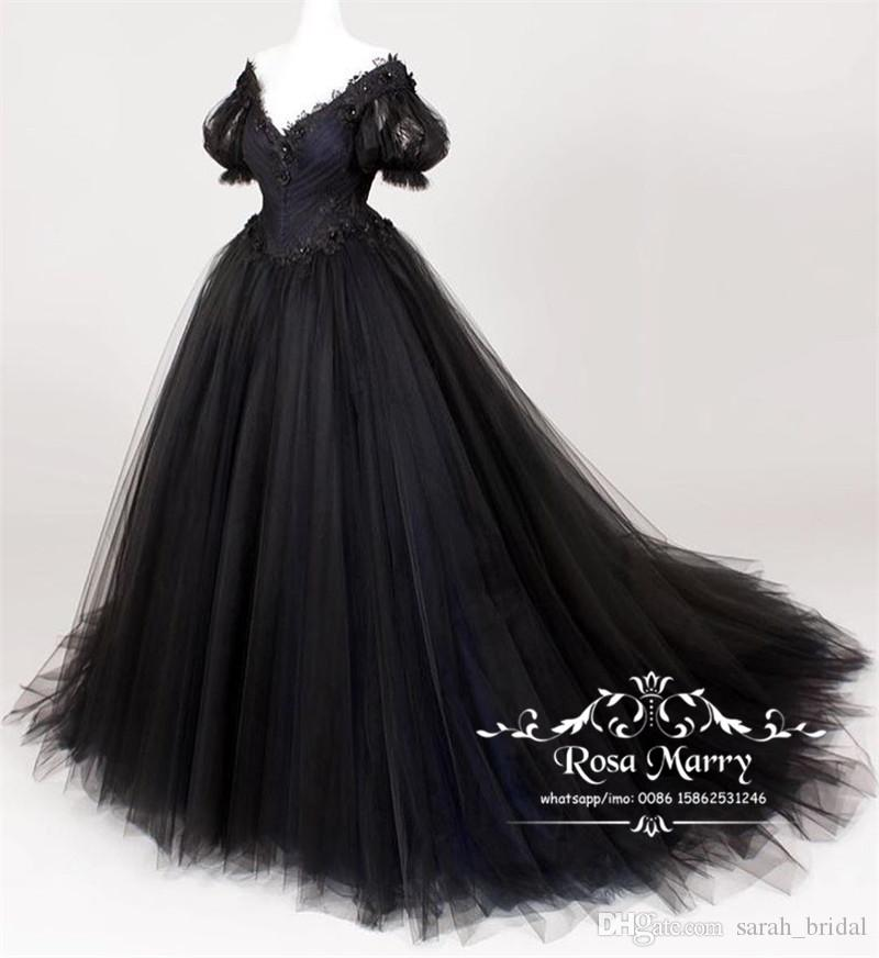 eec5ded2d7d Discount Gothic Black Plus Size Wedding Dresses 2019 A Line Short Sleeves  Vintage Lace Arabic African Country Beach Cheap Wedding Bridal Gowns  Strapless ...