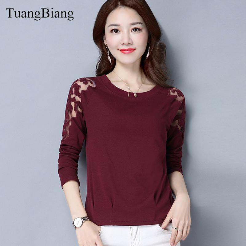 cotton and linen Lace splice T shirts Hollow Out O-Neck Ladies off shoulder feminine Tee-shirts Full sleeve Spring Autumn Tops