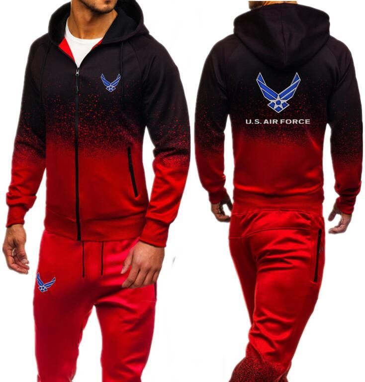 U.S. Print Men Sets Autumn Sporting Suit Sweatshirt Sweatpants Mens zipper hoodies pants Slim Tracksuit Hooded Jacket