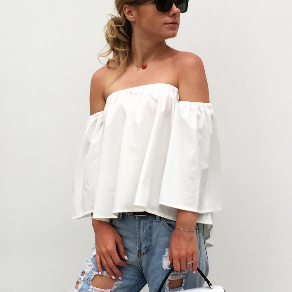 b68b511e233 2019 2018 New Fashion Women Shirts Slash Neck Off Shoulder Chiffon Blouse  Solid Color Summer Crop Top Chemises Femmes Camisas Mujer From Lookpack, ...