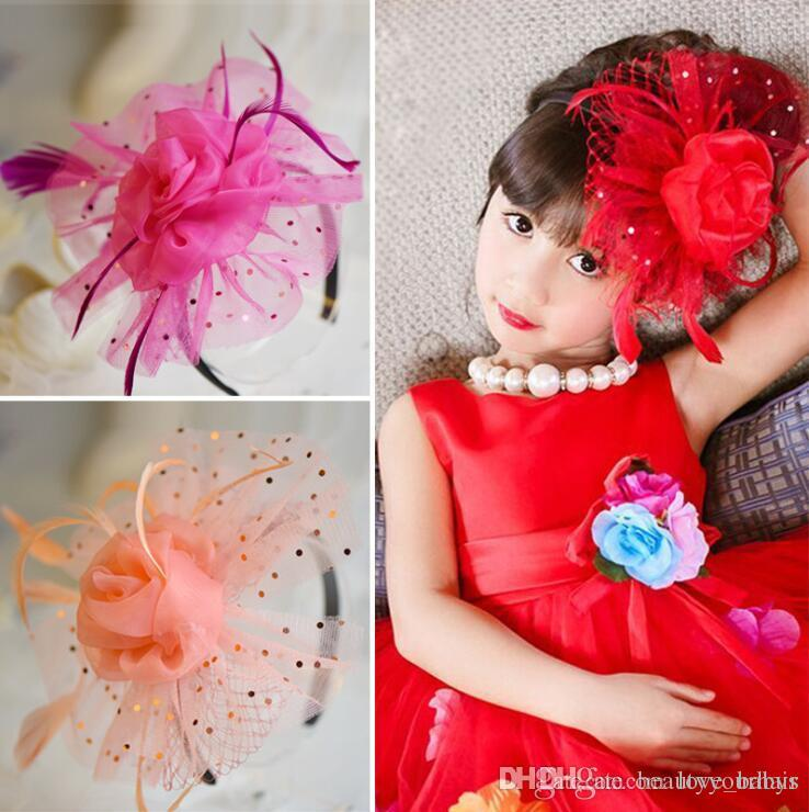 Children Girls Party hair Accessories Princess Flower Pearls Hair Bands baby kids Lace Feather hair bow Headbands