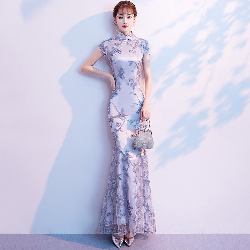 e59ca7768 Gray Wedding Qipao Long Cheongsam Modern Chinese Traditional Dress ...