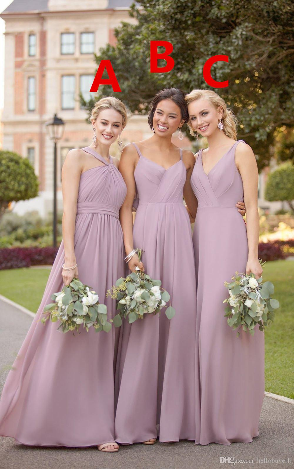 2020 new A Line Chiffon V neck Wedding Guest Dresses beach Loong Bridesmaid Dresses vestidos de noche Elegant Evening Gowns