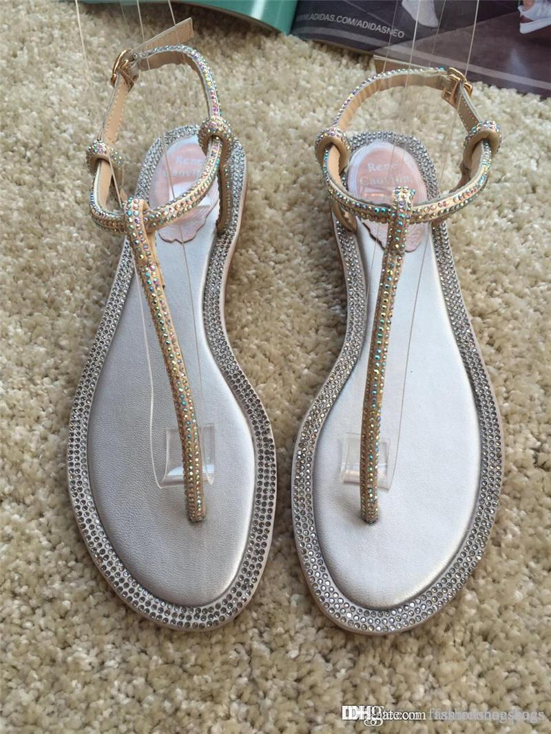 4a4bf9ebe70f43 2018 Newest High Quality RENE CAOVILLA CRYSTAL Karung Rose Gold Pearl  Crystal Flower Thong Sandals Nude Thong Sandals With Original Box Grey  Boots Boots ...