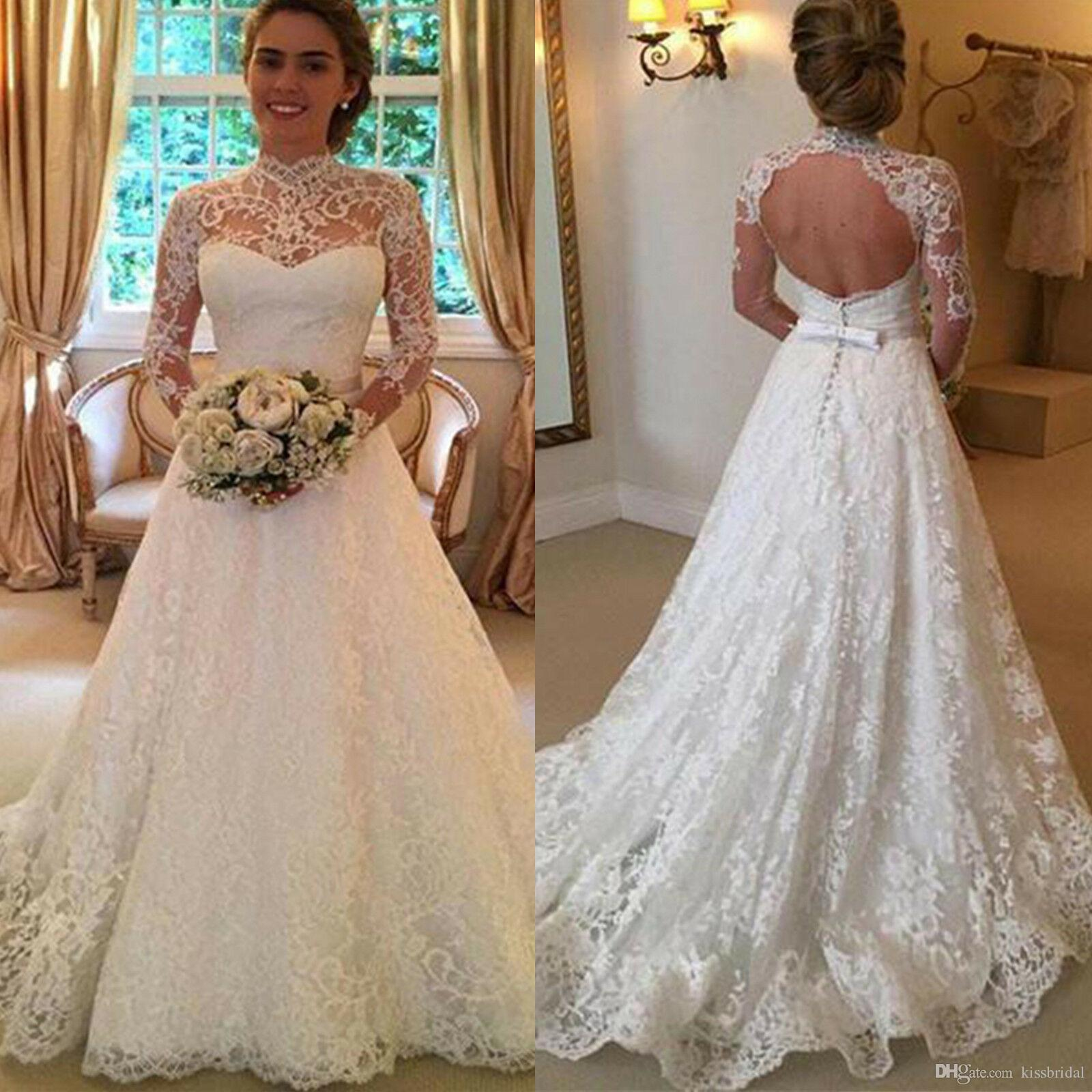 Discount High Neck Long Sleeve Lace Wedding Dresses Robe