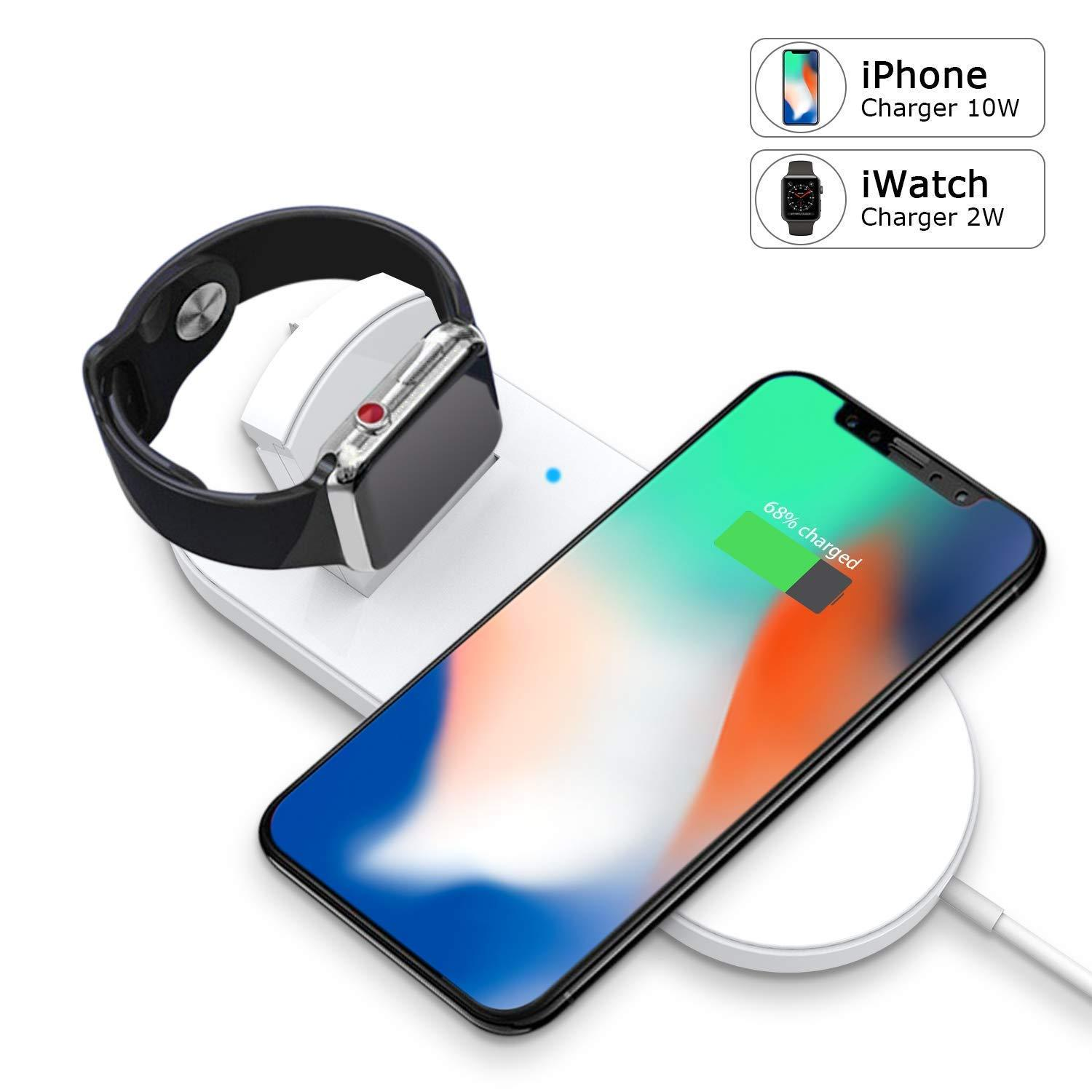 size 40 c2438 f58ac Wireless Charger, 2-in-1 Pad Stand Cable Compatible with Apple Watch,for  iPhone X/8/8 Plus,Compatible with iWatch Series 1/2/3,38mm 42mm
