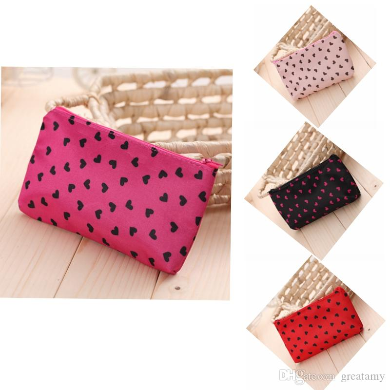 Love Heart Dot Portable Bag Cosmetic Cases Collapsible Storage Bag