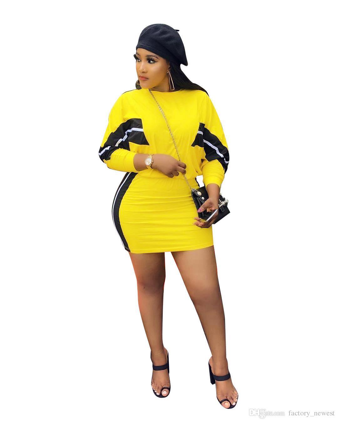 4638c678ce40b Satın Al Yan Çizgili Rahat 2 Parça Elbise Kadın Uzun Kollu Üst Ve Mini  Kalem Etekler Bahar Sıcak Satış Sarı Kıyafetler, $18.8 | DHgate.Com'da