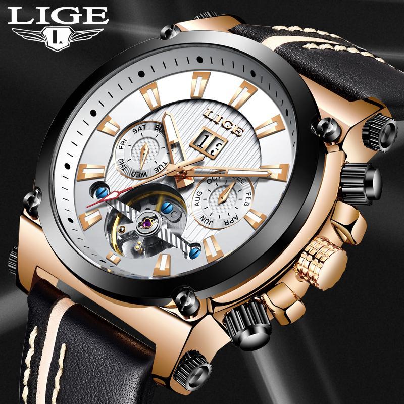 89cec6834452 Compre 2019 Nuevo LIGE Relojes De Moda Para Hombre Marca De Fábrica De Lujo Automático  Reloj Mecánico Hombre Casual Cuero Impermeable Sport Reloj + Caja A ...
