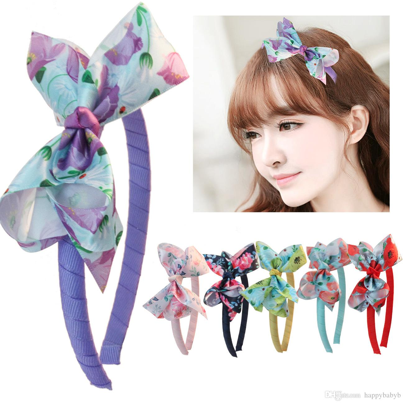 2019 New Wholesale Kids Ribbon Bow Knot Hair Hoop Flower Hairbands Plastic Head bands Hair stick Hair Accessories for Girls