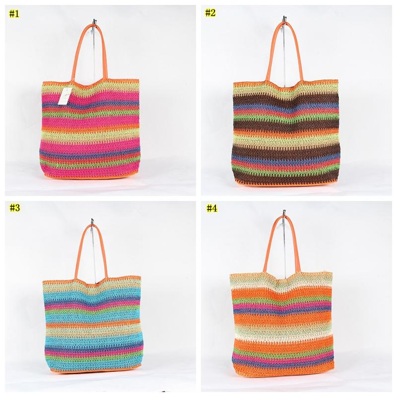 Crochet Summer Beach Bags Colorful Straw Bag Tasselled Women Travel stripe Handbags girl tote bag LJJM1904