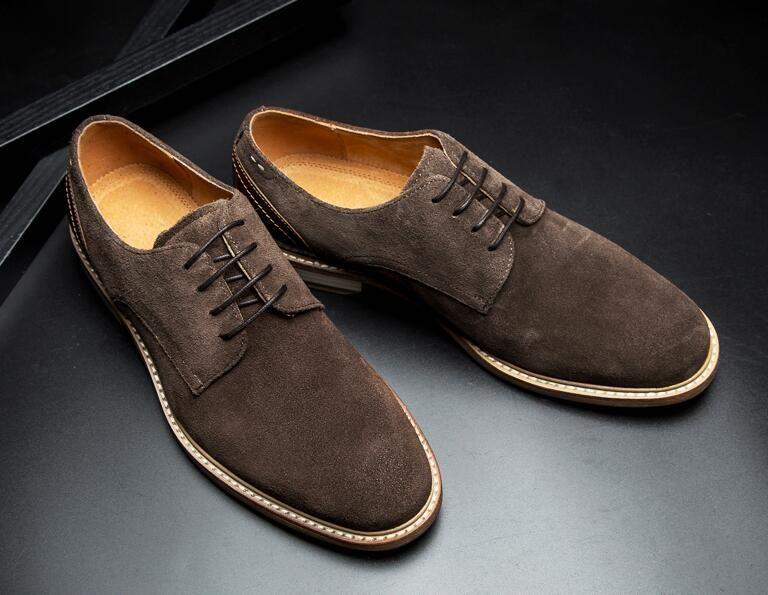 a7f3f319f Derby shoes men lace up genuine leather patchwork formal business men s  dress shoes suede vintage smart casual oxfords
