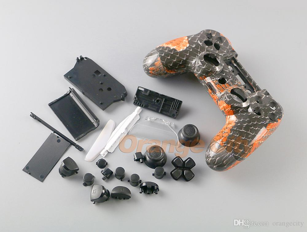 Skull Hydro Dipped Shell Case Mod Kit For Playstations 4 PS4 Controller  Black Buttons