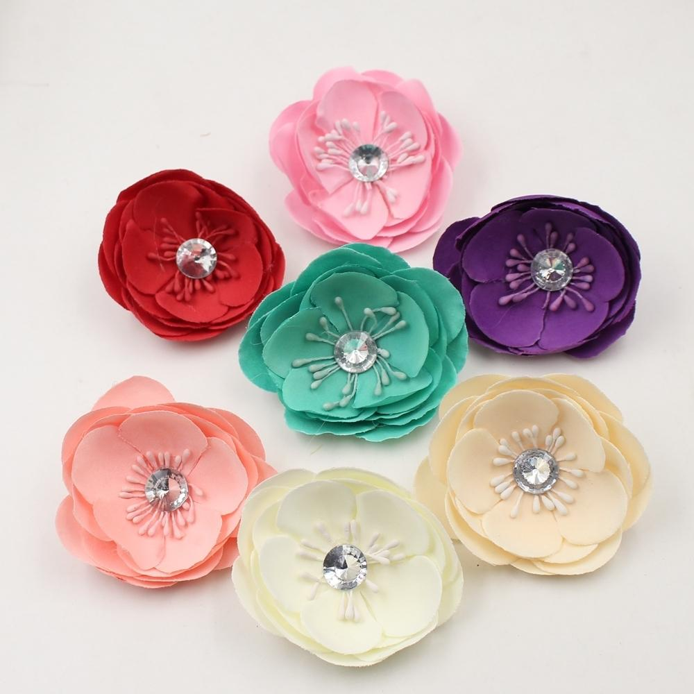 5pcs Artificial 7cm Silk diamond Bowl Head For Wedding Car Decoration DIY Garland Decorative Floristry Fake Flower