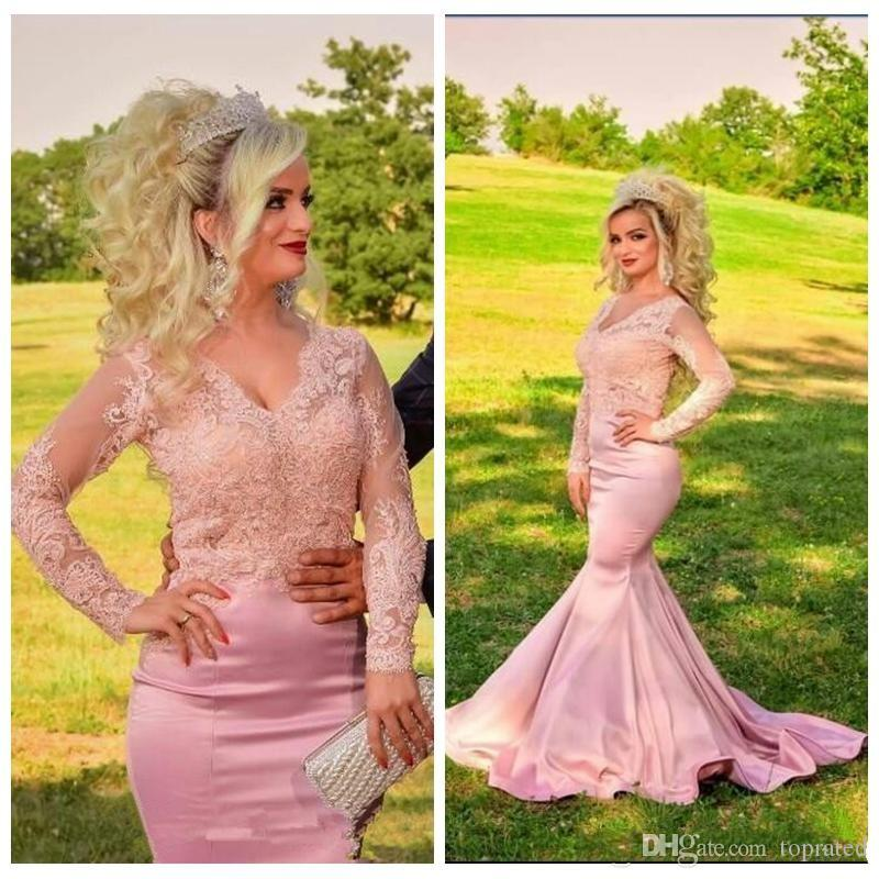 V-Neck Long Sleeves Sheer Lace Appliques Slim Mermaid Prom Dresses Formal 2020 Modest Women Evening Party Gowns Pink Plus Size Custom