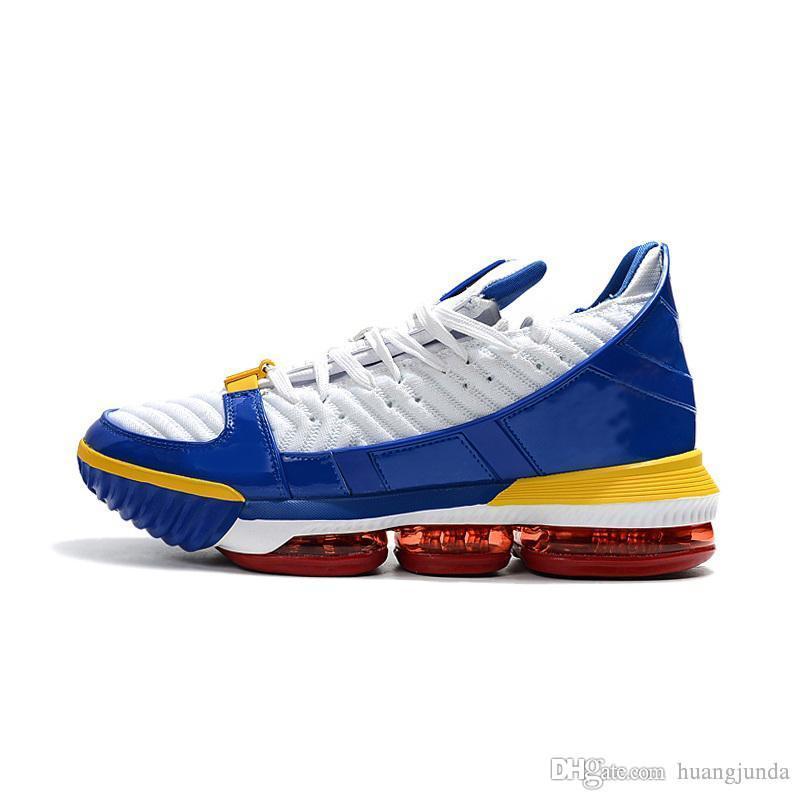Scarpe da basket donna lebron 16 Blu SuperBron Cina Trono Oro nero ragazzi  ragazze bambini bambini sneakers tennis tennis con scatola taglia 5 12