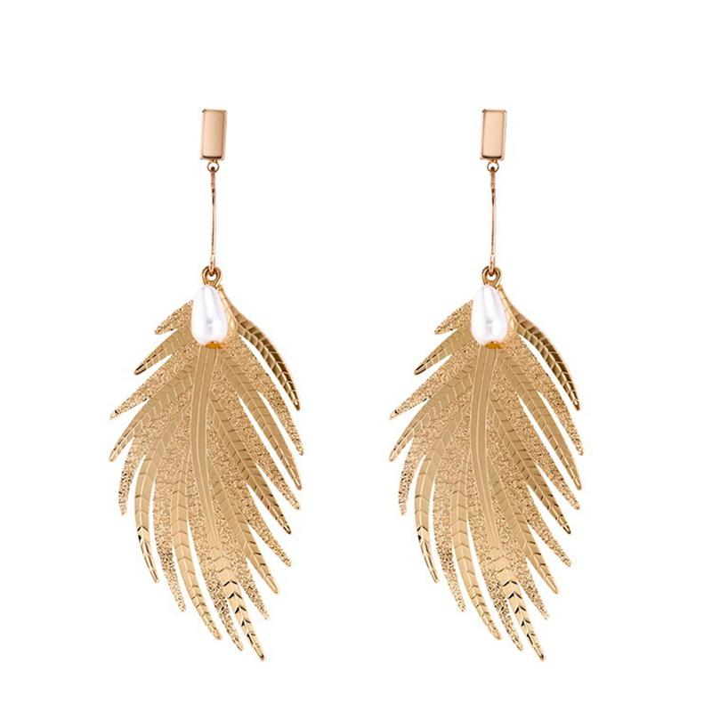 Fashion Jewelry Long Dangling Earrings Gold Silver Feather Shape Big Drop Earrings For Women