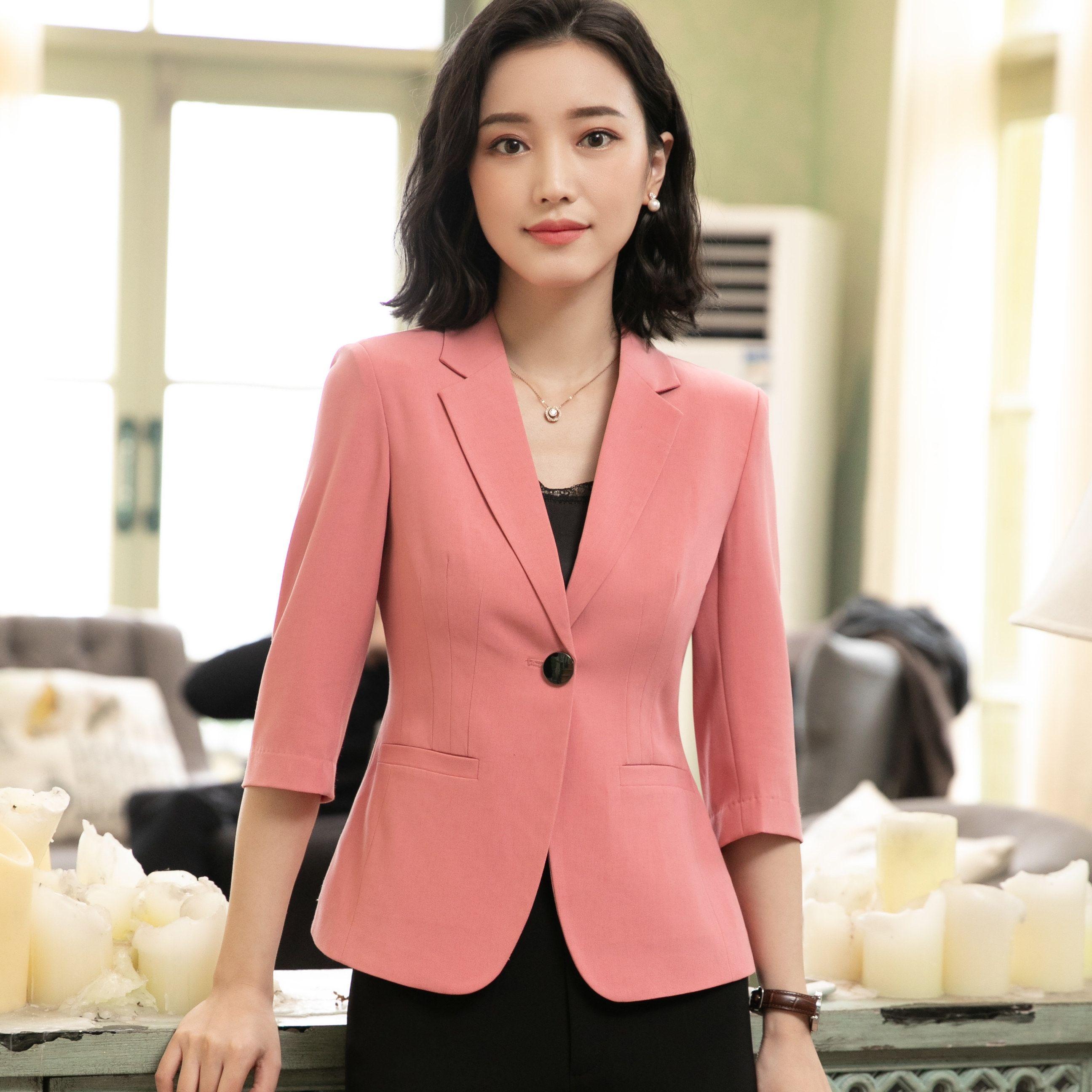 1d0b1168e0 Novelty Black Formal 2019 Spring Summer Fashion Business Half Sleeve Blazer  Jackets Women Office Work Wear Blazers Online with $23.85/Piece on  Dujotree's ...