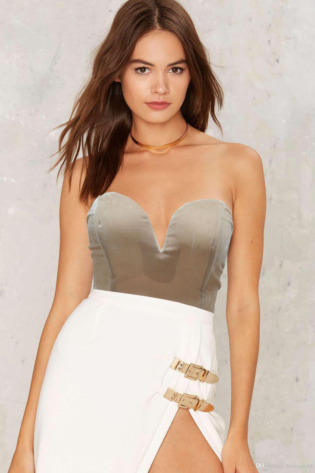 Acheter Soutien Gorge Body Femmes 2018 Nouvelle Mode Sexy Dos Nu Sangles  Velvet Crop Top Combinaison Femme Justaucorps 5 Couleurs Plus La Taille XL  De  9.35 ... da0c9894b7b