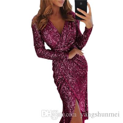 2019 Gala Dinner Sequin Dress Women Sexy V-neck Bodycon Dress Summer ... b1c562413235