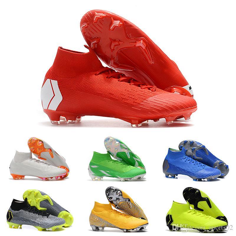 Compre 2019 Sapatos De Futebol Originais Mercurial Superfly VI 360 Elite  Neymar FG Homens Designer De Alta Tornozelo Sapatos De FutebolSuperflyX CR7  Ordem ... 70fd2ed99877f