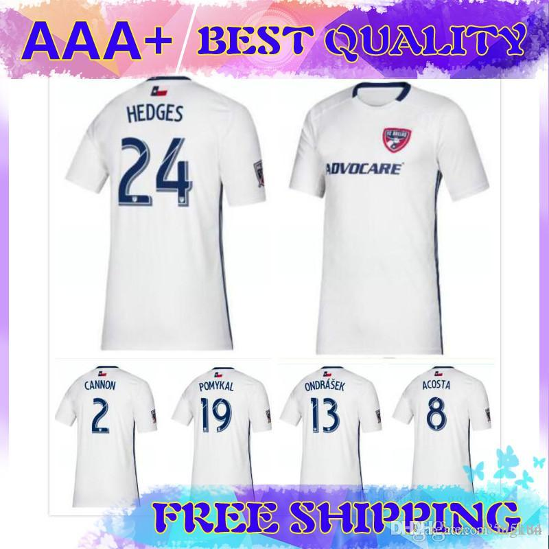 newest 39e3f ba89c 2019 2020 MLS FC Dallas SOCCER JERSEY AWAY WHITE 19 20 HEDGES GRUEZO ACOSTA  ONDRASEK POMYKAL CANNON football shirts top quality
