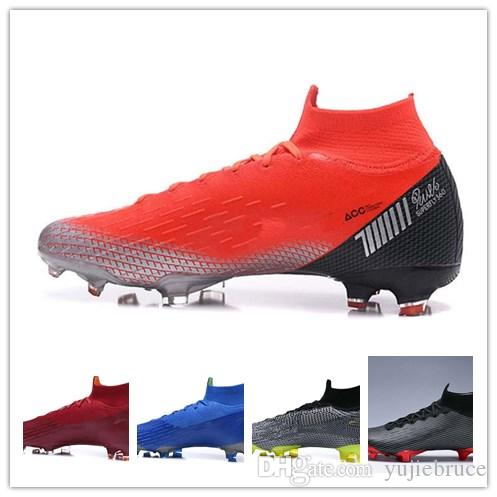 Compre Nike Mercurial Vapor XII Pro 2018 Nuevo Hombre Mujer Chico Chicas  Tobilleras Altas 360 Mercurial Superfly VI Elit FG Ronaldo FG CR Zapatos De  Fútbol ... b0ca6bd4fe39b