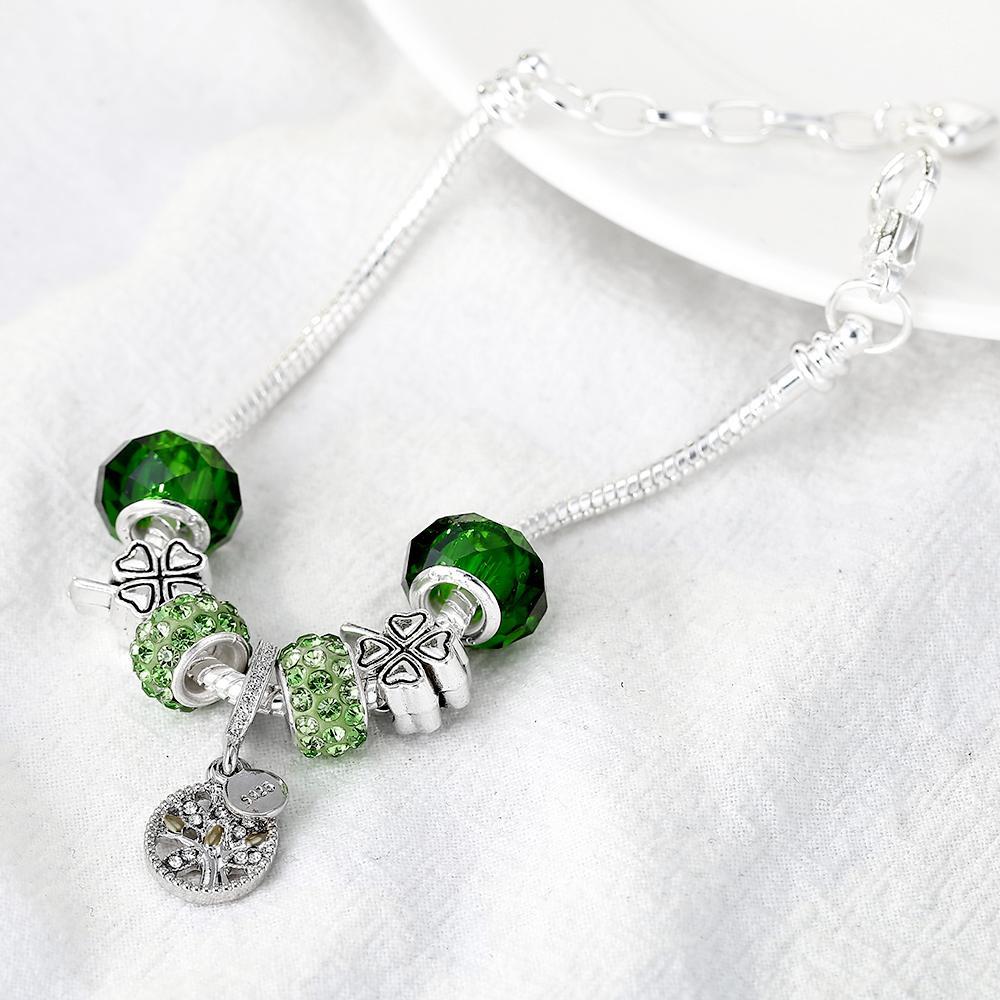 DEERIPA Tree Of Life Braccialetto di fascino Argento antico Colore Clover Bead Pandora Bracciali Braccialetti le donne Gioielli di moda regalo
