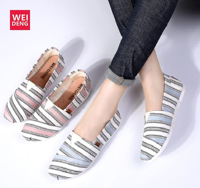 11770696fc94 WeiDeng Woman Casual Slip On Flat With Canvas Lightweight A Pedal  Breathable Ladies Loafers Contracted Stripe Soft Shoes Salt Water Sandals  Bridesmaid Shoes ...