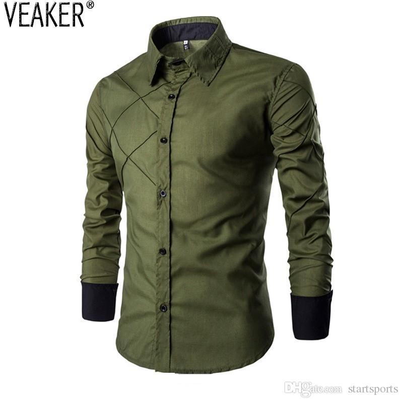 c207bb2dd3f 2018 New Men S Casual Shirts Blue Green Black Male Long Sleeve Slim Fit  Plaid Shirt Camisa Masculina M 3XL  449471 UK 2019 From Startsports