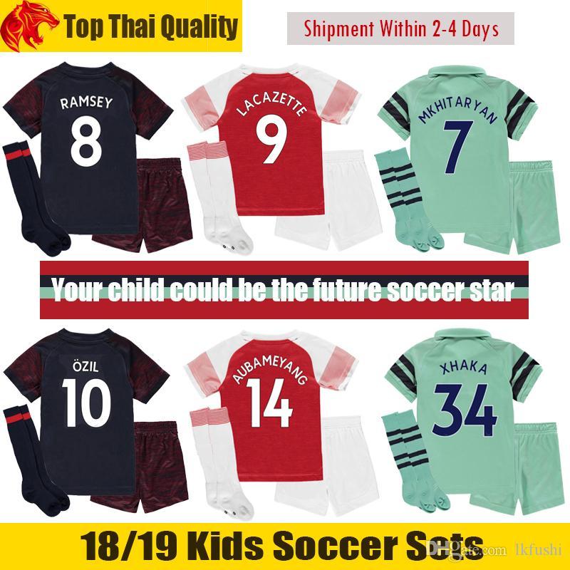 3c2d10396 2019 18 19 AUBAMEYANG Kids Kit 2018 2019 XHAKA LACAZETTE Kids Soccer Sets  MKHITARYAN Children Football Uniforms OZIL RAMSEY Youth From Lkfushi, ...