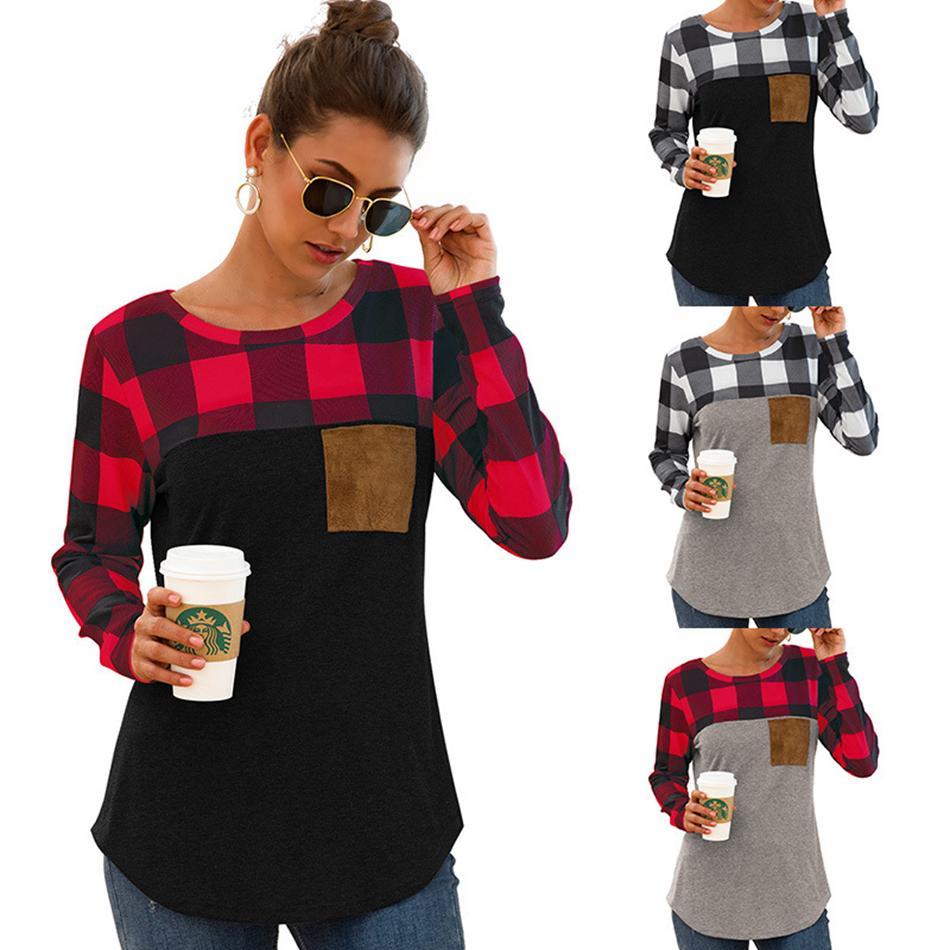 Women Plaid Patchwork T-shirt Long Sleeve Hoodie Ladies Spring Autumn Casual pullover Blouse Shirt Pocket Tops LJJA3479-10