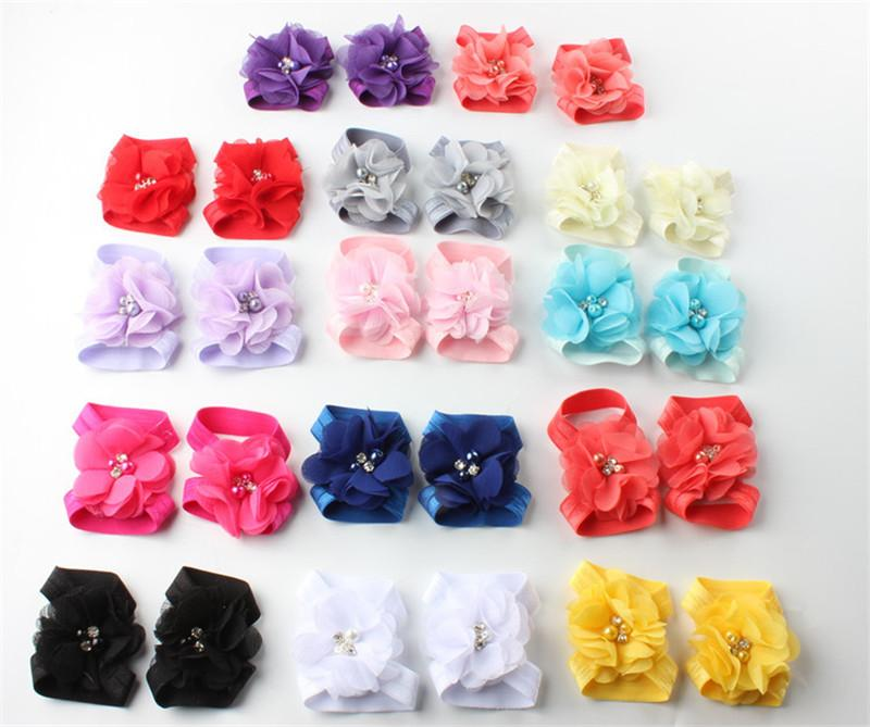 Toddler Baby Chiffon Water Drill Flower Foot Belt Set Sandals Flower Barefoot Foot Infant First Walker Shoes Photography Props Gifts A32003