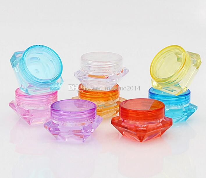 3g colorful diamond shape empty cosmetic containers screw cap sample containers jar skin care cream jars pot tins