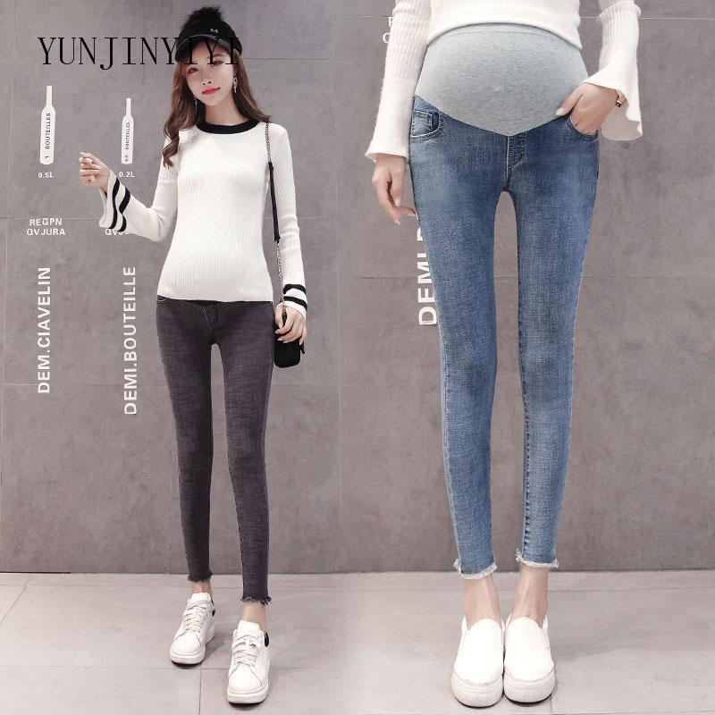 3d7f82623 Compre Ropa Embarazada Estirar Lavado Denim Jeans De Maternidad Moda De  Verano Lápiz Pantalones Ropa Para Mujeres Embarazadas Pantalones De Embarazo  A ...