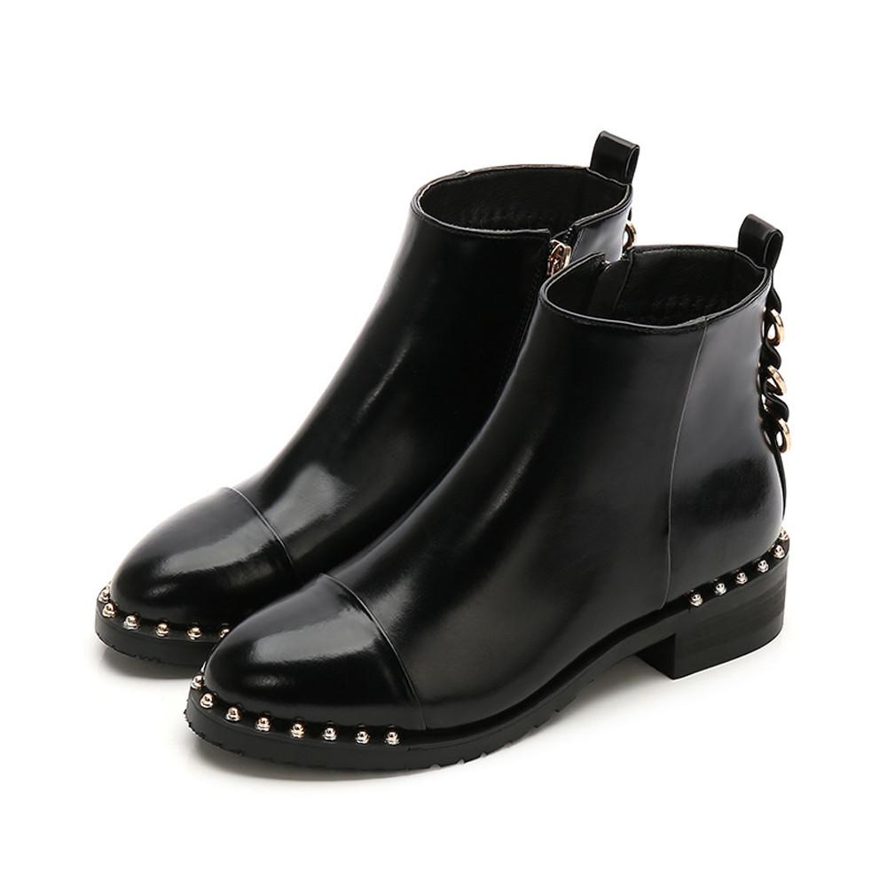 0015832d819 High Quality Rivet Flat Ankle Boot Soft Leather Women Boots Double Zip  Short Spring Autumn Boots Plus Size Shoes