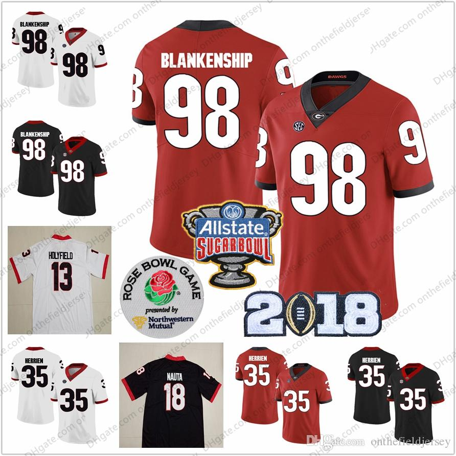 433917a47 Georgia Bulldogs  18 Isaac Nauta 98 Rodrigo Blankenship 13 Elijah Holyfield  35 Brian Herrien 1 Sony Michel NCAA Sugar Bowl Jerseys S 3XL UK 2019 From  ...