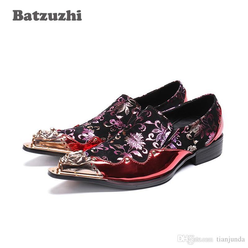 Männer Runway Japanischen Mode Eisen Spitz Schuhe Batzuzhi Kleid Hochzeit Rock Party Männer Und Stil Rote Leder BQoWdCxer
