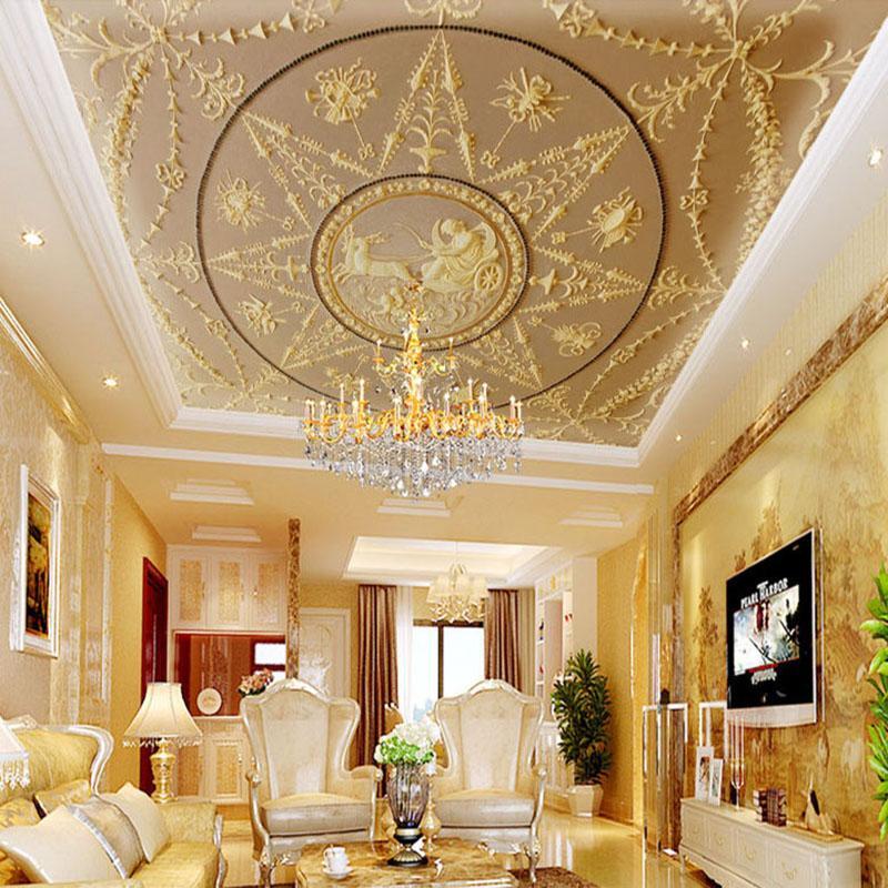 Custom Photo Mural Wallpaper 3D Stereo Relief European Classic Luxurious  Ceiling Fresco Living Room Hotel Lobby Ceiling Mural