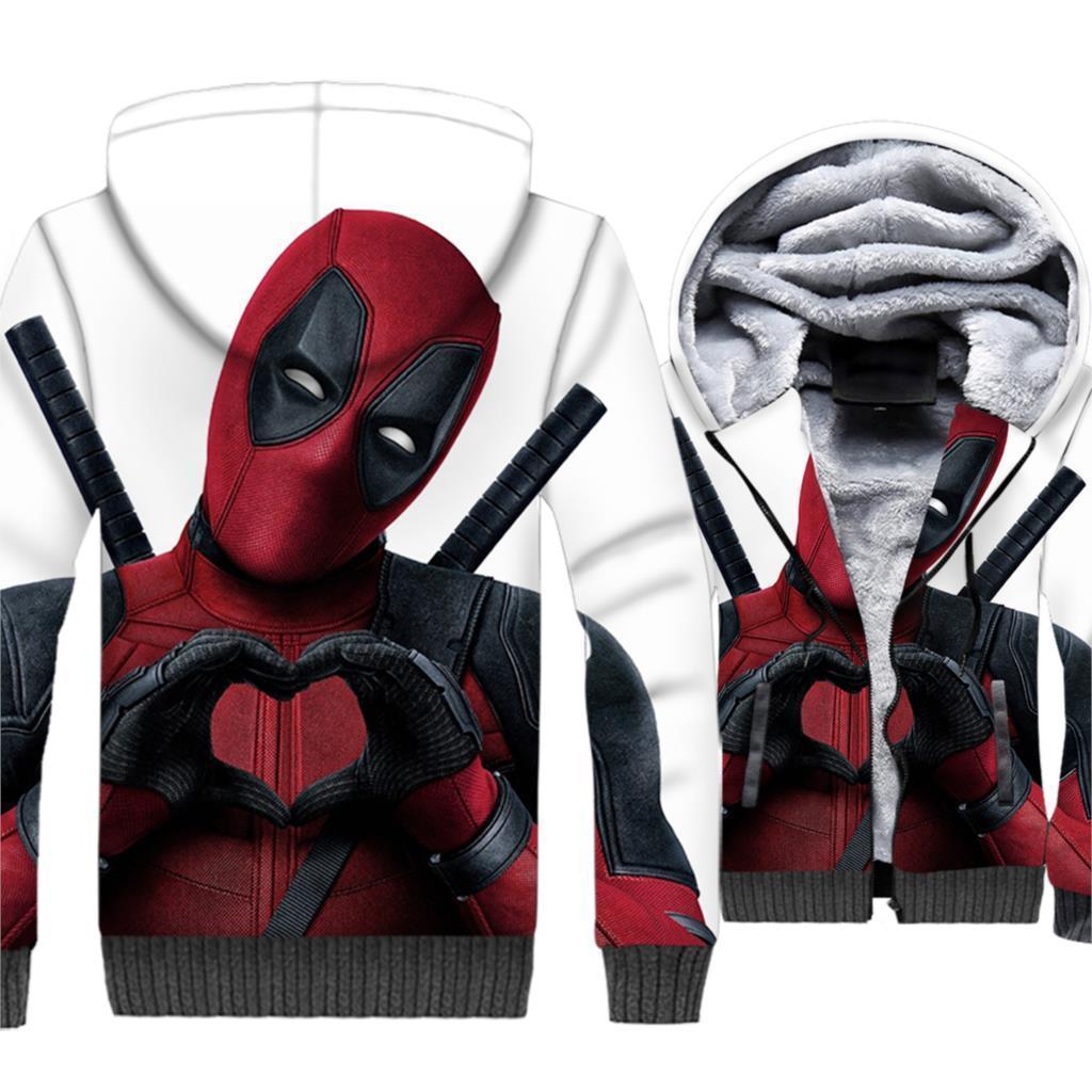 bcb9807d27d Compre 2019 Otoño Invierno Gruesa Con Cremallera Chaquetas De Los Hombres  Superhéroe Patrón 3d Corazón Deadpool Amor Animado Divertido Sudaderas Para  ...