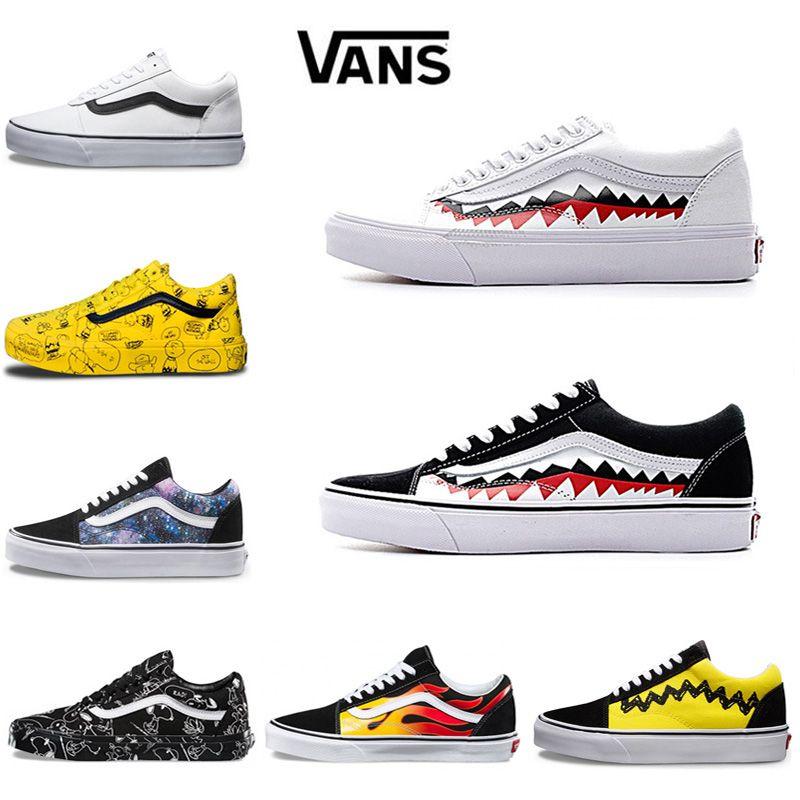 Compre Vans Old Skool Hombre Mujer Zapatos Casuales Rock Flame Yacht Club  Sharktooth Peanuts Skateboard Lona Deportes Zapatillas De Deporte  Zapatillas De ... 9f847c47a28
