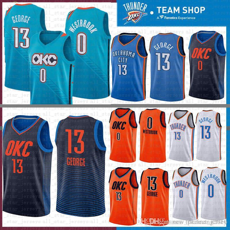 huge discount 3ec57 235e7 2019 new Oklahoma 13 Paul 13 George City Jersey Thunder 0 Russell 0  Westbrook Basketball Jerseys OKC BLUE WHITE ORANGE