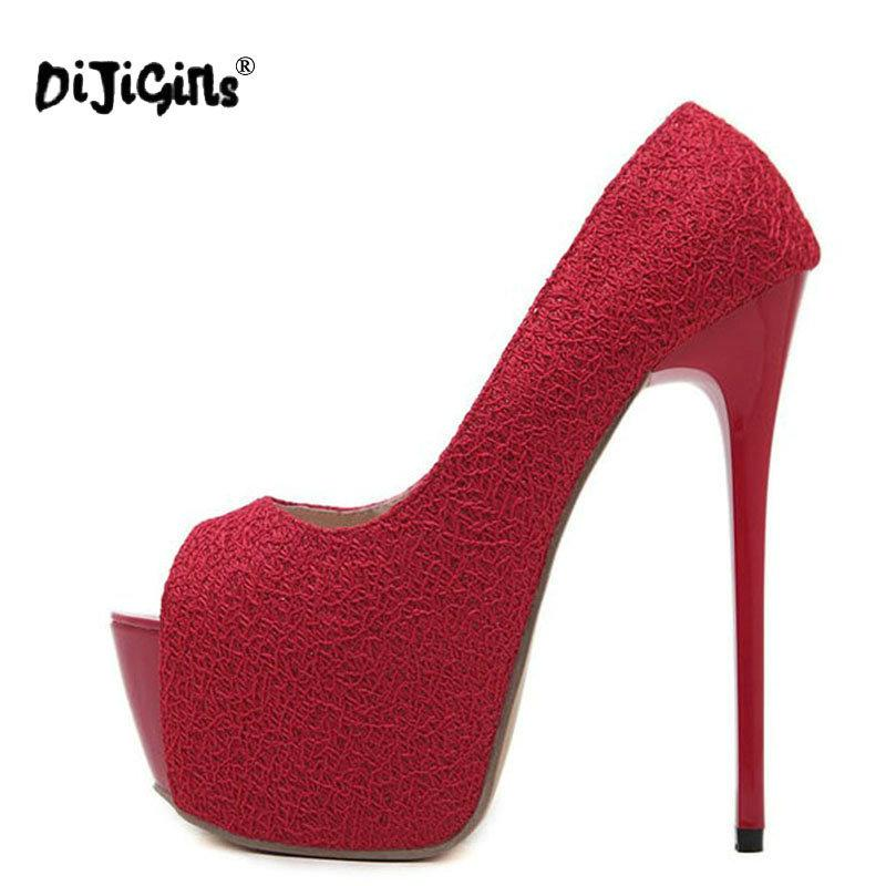d165560211f3 Dress Dijigirls New Sexy Women Pumps 16 Cm High Heeled Shoes Peep Toe Pumps  Size 35 40 Black Red Women Party Platform White Mountain Shoes Scholl Shoes  From ...