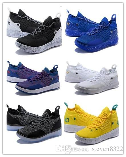 huge selection of 7dc15 6474c ... france kd 11 basketball shoes for new mens oreo white gold ice blue  knitting trainers zoom