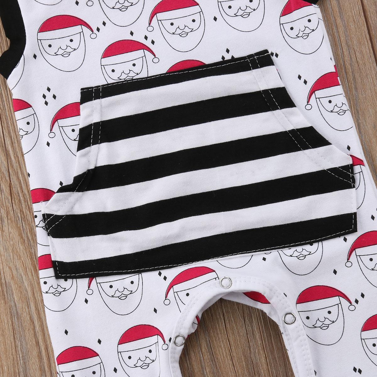 신생아 아기 소년 소녀 산타 크리스마스 후드 뛰어 돌아 다니는 민소매 스트라이프 대형 포켓 점프 수트 의상 의류