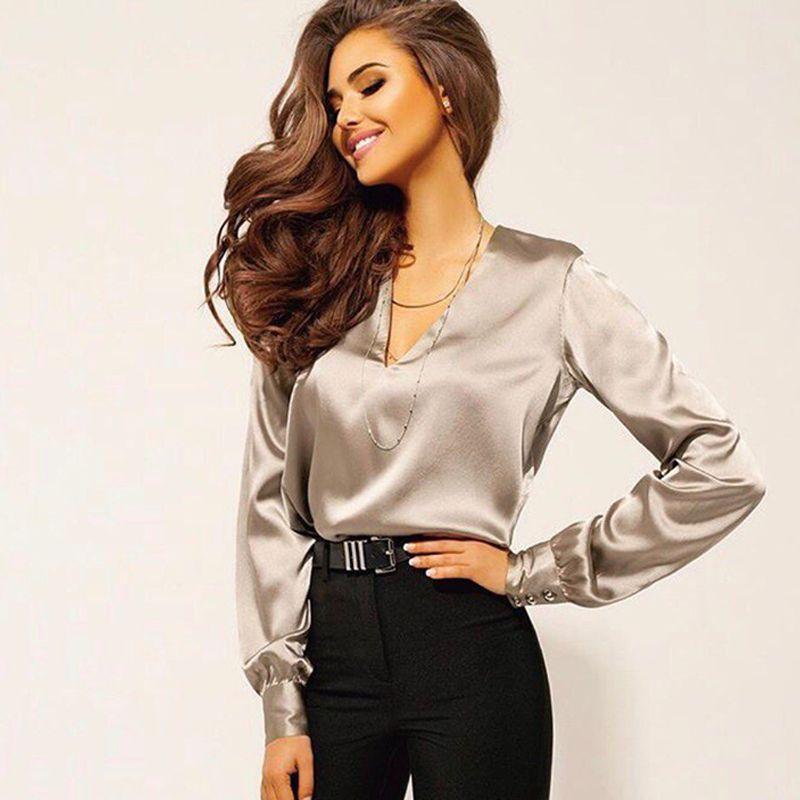 a6802c26b0 Compre Camisa De Gasa De Moda Para Mujer 2018 Otoño Sexy Con Cuello En V  Blusa De Oficina De Color Sólido Camisa Casual Camisa De Manga Larga Con  Botones A ...