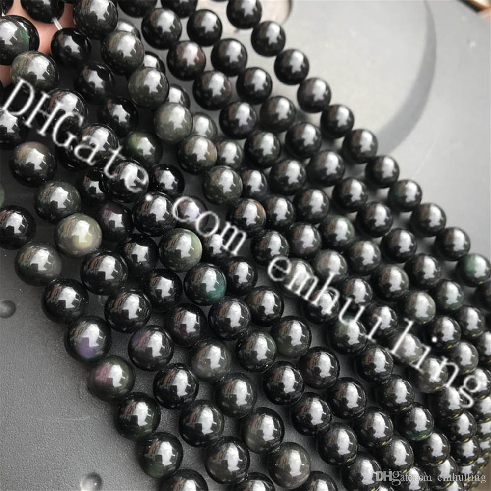 c4d072691e1c9b 2019 10 Strands Natural Rainbow Black Obsidian Stone Beads Smooth Round  Gemstone Loose Beads For Jewelry Making DIY Bracelet Necklace 4mm 16mm From  ...